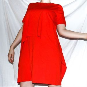 COS red asymmetrical tiered layered dress M